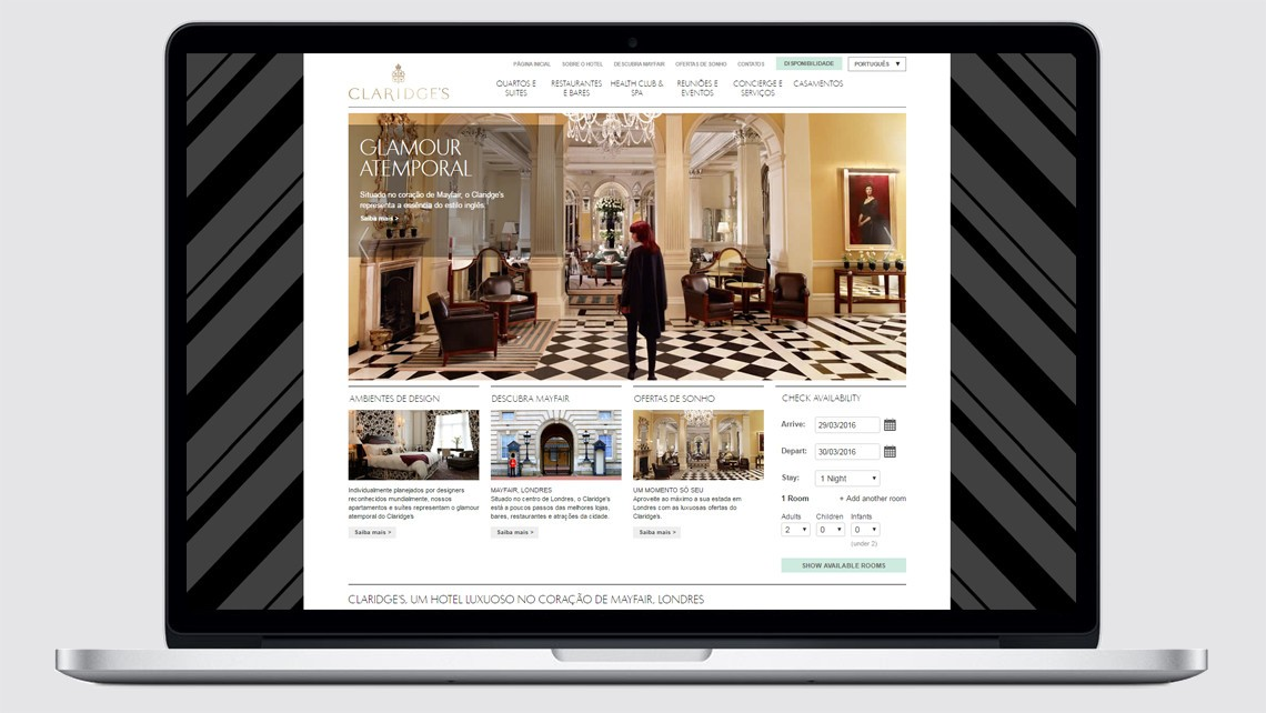 Claridge's hotel Brazil website