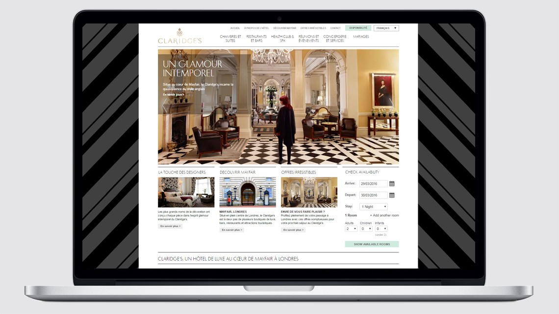 Claridge's French hotel website