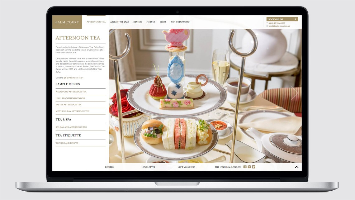 Palm Court afternoon tea website design