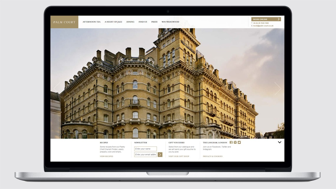 Palm Court website design The Langham Hotel