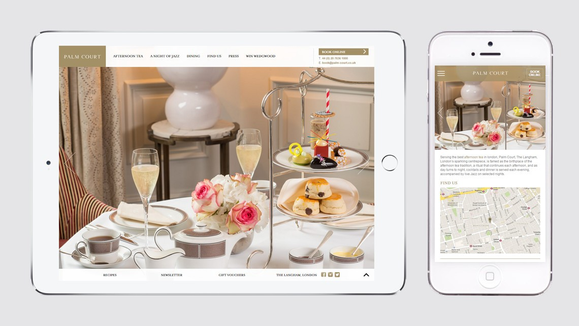 Palm Court website design tablet and mobile